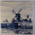 Vintage Dutch Delft Scenery Blue & White Decorative Tile Windmill Bridge 6