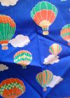 Vintage blue hot air balloon fabric 90s colorful children's scrap applique craft