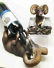 Bighorn Sheep Ram Vino Wine Holder and Salt Pepper Shakers Spice Set Figurine