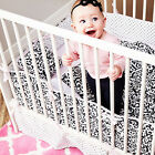 Kress Co. - *Sophisticated Doodles and Dots Baby Girl 9-Piece Crib Bedding Set*