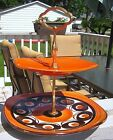 Vtg SMF SCHRAMBERG GERMANY HAND PAINTED SAMBESI Orange 2 Tier Tray Retro 1960s
