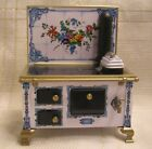 Tin Lithograph Cook Stove - Flower Tile - 1:12 scale Dollhouse Schooper