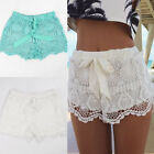 New Women Lady Elastic Shorts High Waist Lace Short Pants White Geen Trousers