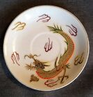 Gorgeous Vintage Asian Porcelain Saucer Plate With Gold Gilded Dragon Motif.