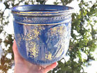 ANTIQUE GOLD COBALT BLUE FEMALE BUST PLANTER VASE Bowl pottery 7