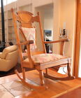 Antique Oak Rocking Chair Hand-Carved Wood