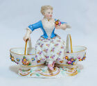 Meissen Porcelain Figurine of a Girl Holding a Rose Sitting Between Two Baskets
