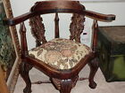 AMAZING ANTIQUE HAND MADE SOLID WOOD CHAIR WITH TAPESTRY SEAT