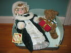 COLLECTOR'S CHOICE BISQUE PORCELAIN HOLIDAY DOLL WITH PLUSH BEAR AND CASE EUC!