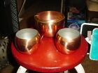 VTG.3 PC. COPPERCRAFT GUILD HANDLED/FOOTED CAULDRON&2 CUPS~NOS/NWT!!