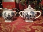 BLUE DANUBE CREAMER PITCHER AND SUGAR BOWL BLUE ONION JAPAN FINE CHINA VINTAGE