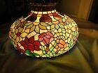 Vintage ca 1960's Tiffany style leaded glass chandelier  floral hanging shade