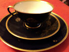 Vtg 3 pc Germany Lindner Cup Saucer Dessert Plate Set Cobalt Gold Porcelain