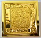 Germany Saxony 3 Pfennige Stamp 1850 Proof 24 K Gold Plated on Sterling Silver !