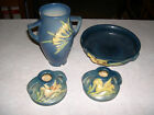Lot of 4 Roseville Pottery Zephyr Lily *Vase, Two Candle holders, and Bowl*