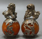 Free shipping!!!A PAIR CHINESE CARVED JADE & SILVER DRAGON FOO DOGS STATUE