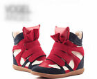 Womens Velcro Strap High Top Wedge Hidden Heels Ankle Boots Sneaker Color Red