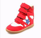 Womens Velcro Strap High Top Wedge Hidden Heels Ankle Boots Sneaker Red/White
