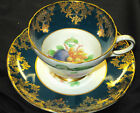 SHELLEY HENLEY FRUIT TEAL GREEN  GOLD TEA CUP AND SAUCER