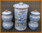 Three Vintage Italy DERUTA Porcelain Ceramic Hand Painted Apothecary Jars