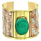 Gold Copper Silver Tone Weave Metal Cuff Turquoise Blue Bead Cab Tribal Bracelet