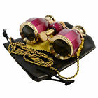 HQRP 4x25 Opera Glasses Coated Lens Binoculars Burgundy Gold Trim Necklace Chain