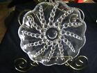 VINTAGE CLEAR GLASS DEPRESSION BEADED FOOTED RELISH TRAY PLATE SCALLOPED EDGE 8