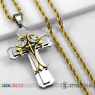 Men's Stainless Steel Cool Gold Tone Large Cross Pendant with Rope Necklace 11I