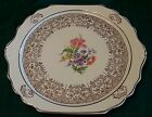 The HARKER POTTERY 22KT GOLD Tulip FLORAL BOUQUET Cake PLATE Serving PLATTER USA