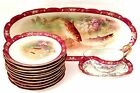 STUNNING! Antique LRL Limoges Artist Signed Hand Painted Fish Set 13 Pieces 1900