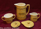 VTG Japan Chase Basketweave Coffee Sugar Creamer with lids RARE Ceramic Pitcher