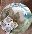 222 Fifth LAKSHMI HOLIDAY PEACOCK CHRISTMAS ORNAMENTS Appetizer Plates Set 4