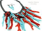 Nautical reef red and blue necklace and earring set hematite chain 18