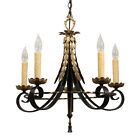 Graceful Antique Five-Light Two Tone Brass Chandelier NC1684