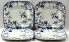 BRAND NEW- 222 Fifth Adelaide BLUE- SET of FOUR (4 )Dinner Plates -BRAND NEW !