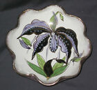 Vintage Curled Edge Hand Made & Painted Ceramic Crackle Bowl Signed ITALY
