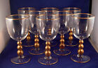 Set of 8 Beautiful Atq Crystal Wine Goblets-Gilt Applied to 3 Balls On Stems