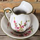 Beautiful Floral Pitcher & Wash Bowl Signed by Nora Fenton Made In Italy 1967