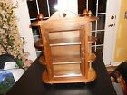 Vtg Wall Hanging Curio Cabinet Shelf Table Top Door Wood Display Case Topper