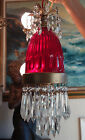 Vintage large ruby glass cut crystal Brass hanging SWAG lamp chandelier