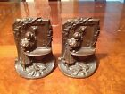 Antique Bookends Old Art  Deco Era Solid Bronze Figural Lady at the WELL Statue