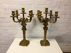 Antique Likely French Louis XVI Style Pair of Gilt Bronze Five Light Candelabras