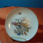 VINTAGE JAPANESE PORCELAIN PLATE PEACOCKS BLOSSOM FLOWERS  8 1/2 INCHES.  (H)