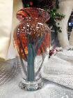 New With Tags Orient and Flume Handblown Glass Vase Signed Autumn Woods USA Made