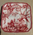 222 Fifth Adelaide Maroon Appetizer Plates Set Of 4 Toile Bird Dessert Bread