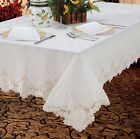 Violet Linen Imperial Embroidered Vintage Lace Tablecloth Design