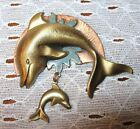 Beautiful VINTAGE COPPER DOLPHIN BROOCH WITH BABY DOLPHIN Unique Artist Made
