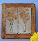Vintage Beautiful Italian Sassuolo Ceramic Tile on Wood Frame Made in Italy