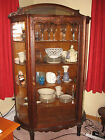 Oak Antique Curved Glass China or Curio Display Cabinet