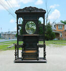 Large 19th Century English Oak Hall Tree with Lift Seat Highly Carved w/ Faces
